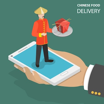 Chińskie jedzenie online zamówienie płaskie izometryczny low poly wektor koncepcja.
