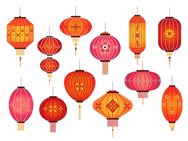 Chińskie Lampiony. Dekoracja Chinatown I Japońskiej Czerwonej Lampy Ulicznej Premium Wektorów
