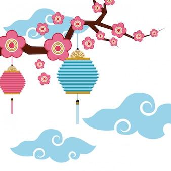 Chińskie lampiony i kwiaty dekoracji