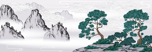 Chińskie malarstwo klasyczny krajobraz z górami