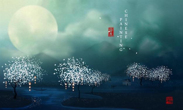 Chińskie malarstwo tuszem sztuka tło