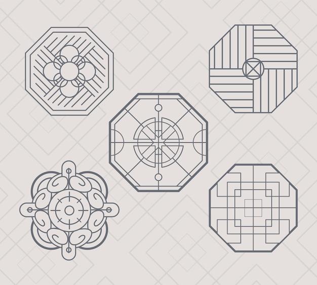 Chińskie ozdoby i ikony sześciokąty