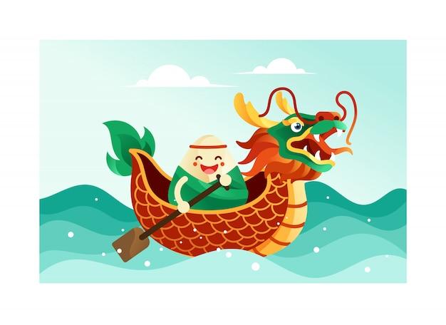 Chińskie ryżowe kluchy w smoczej łodzi festiwalu