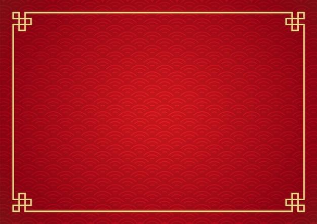 Chińskie tło ramki. kolor czerwony i złoty.