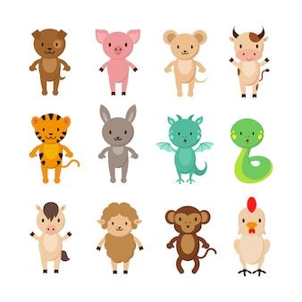 Chińskie znaki zodiaku zwierząt kreskówka wektor zestaw znaków