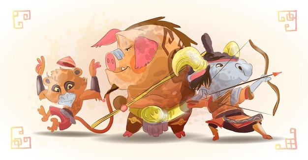 Chińskie znaki zodiaku zwierzęta postaci z kreskówek małpa świnia koza na białym tle kreskówka ręcznie rysowane ilustracja.