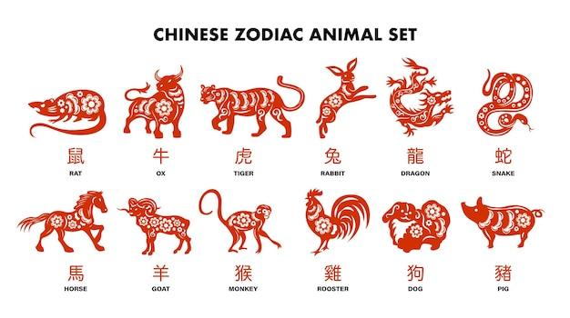 Chińskie zwierzęta zodiaku czerwony zestaw królik pies małpa świnia tygrys koń smok koza wąż kogut wół szczur na białym tle kreskówka