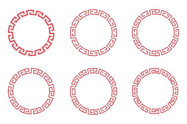 Chińskiego Czerwonego Okręgu Ustalony Wektorowy Projekt Na Białym Tle. Premium Wektorów