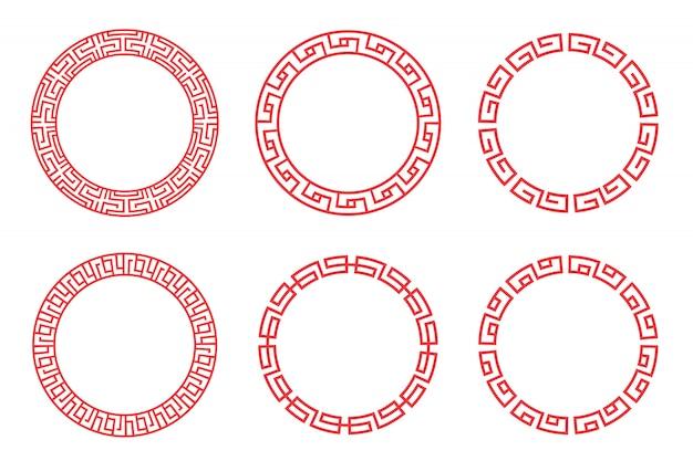 Chińskiego czerwonego okręgu ustalony wektorowy projekt na białym tle.