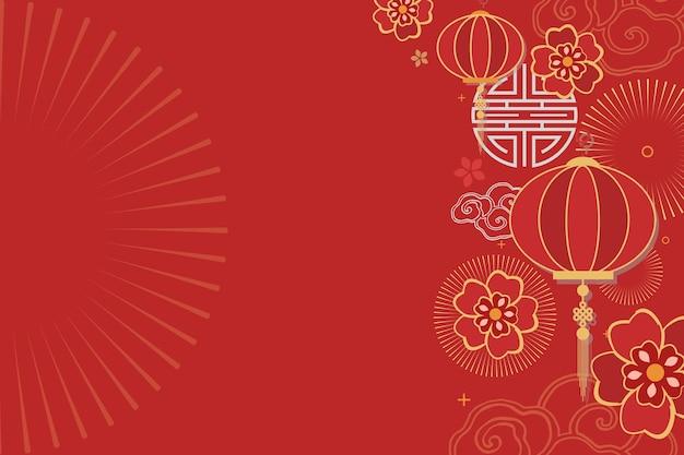 Chińskiego nowego roku obchody świąteczne pozdrowienia czerwone tło