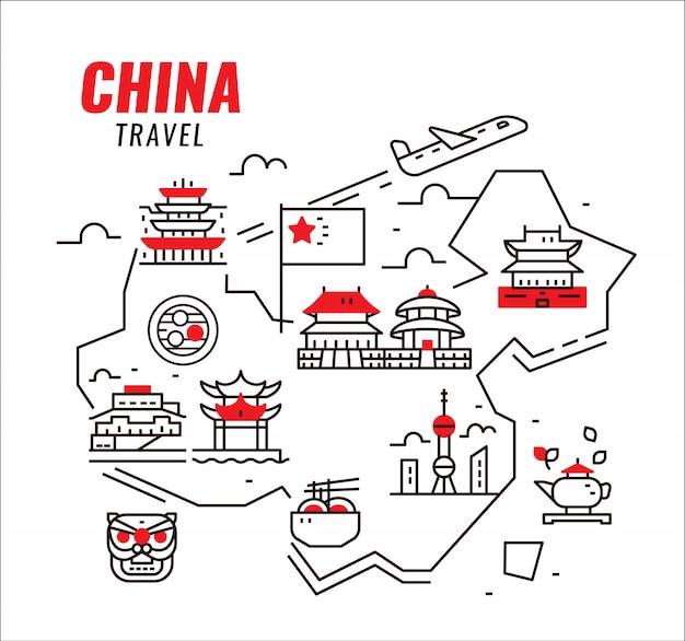 Chiny podróżują. chińska tradycyjna architektura, budownictwo i kultura.