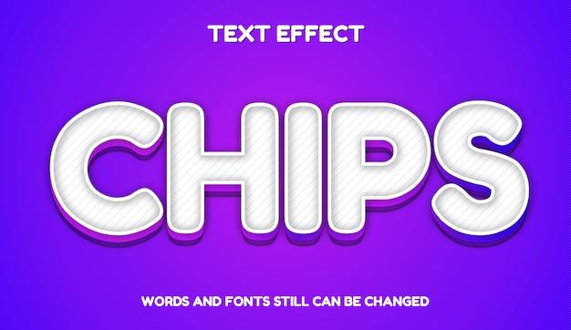 Chips elegancki styl tekstu. nowoczesny edytowalny efekt tekstowy