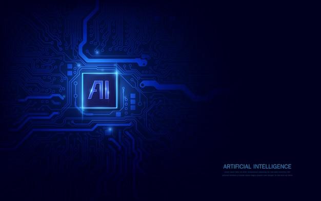 Chipset ai na płytce drukowanej w futurystycznej koncepcji dostosowanej do technologii przyszłości