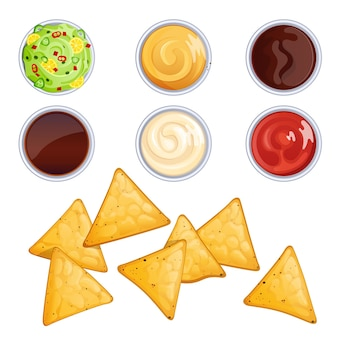 Chipsy nacho i sosy w miseczkach na białym tle. ilustracja kreskówka meksykańskie jedzenie.