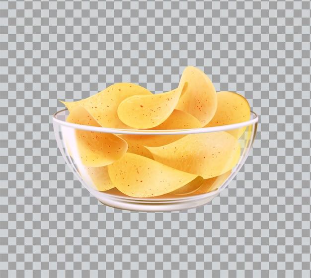 Chipsy w szklanej misce przekąska do piwa fast food meal