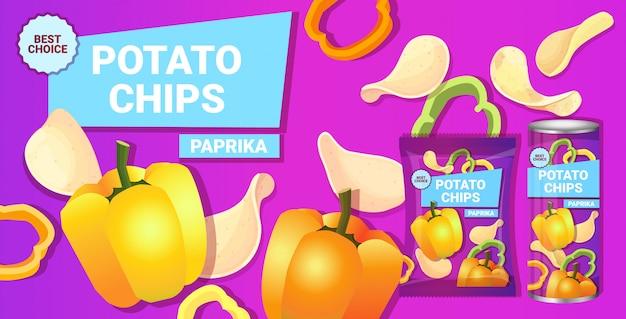 Chipsy ziemniaczane o smaku papryki kompozycja reklamowa chipsów naturalnych ziemniaków i opakowania