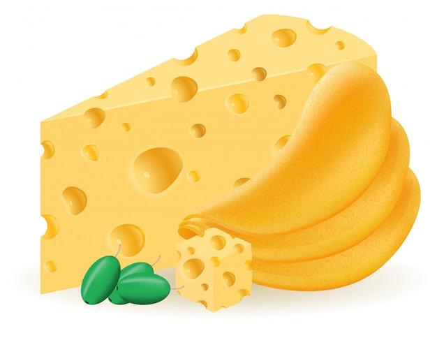 Chipsy ziemniaczane z ilustracji wektorowych sera