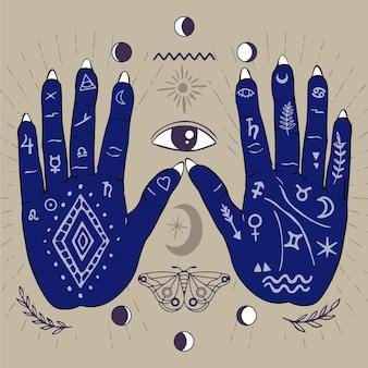Chiromancja koncepcja z niebieskimi dłońmi