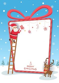 Chirstmas festiwalu ilustracja z santa claus i reniferem w teraźniejszości pudełka ramie na śnieżnym tle.