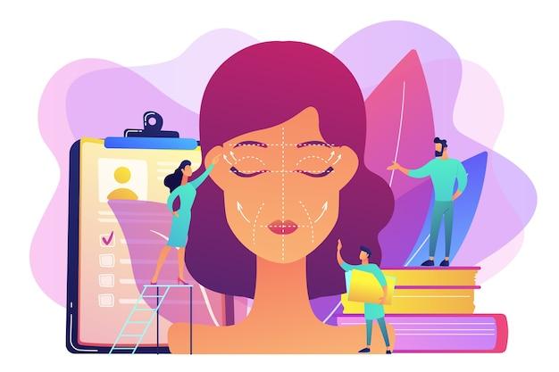 Chirurdzy plastyczni zajmujący się liftingiem twarzy kobiety ze zmarszczkami. lifting twarzy, rytidektomia, koncepcja operacji liftingu twarzy.