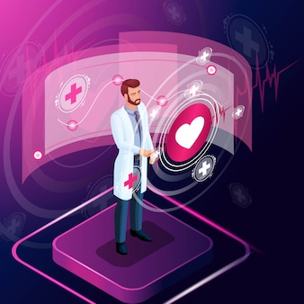 Chirurg izometryczny patrzy na testy, diagnozuje chorobę i monitoruje jej rozwój, przepisuje lek na leczenie, pracuje z zaawansowanymi technologiami