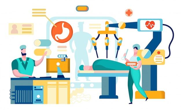 Chirurgia z użyciem robota żołądka.