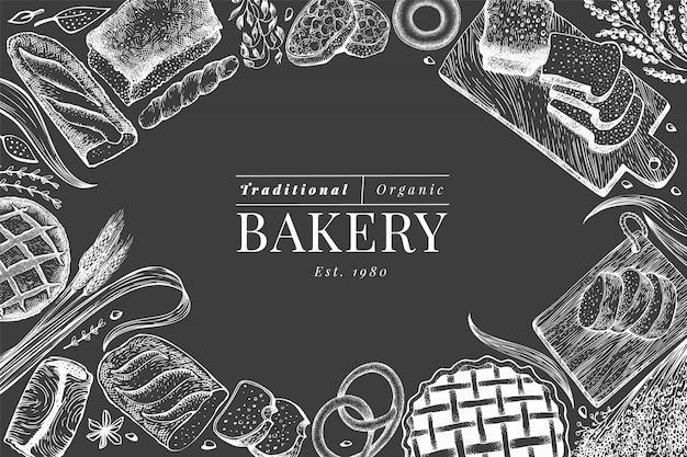Chleb i ciasto wektorowa ręka rysująca piekarni ilustracja na kredowej desce. szablon projektu vintage.