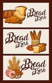 Chleb świeże banery jedzenie pyszne