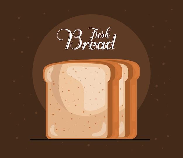Chleb tostowy pyszny produkt cukierniczy i napis