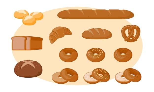 Chleb wektor zestaw ilustracji