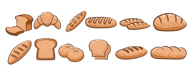 Chleb zestaw kolekcja projekt graficzny clipart