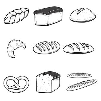 Chlebowe ikon ilustracje na białym tle. elementy menu restauracji, plakat, godło, znak.