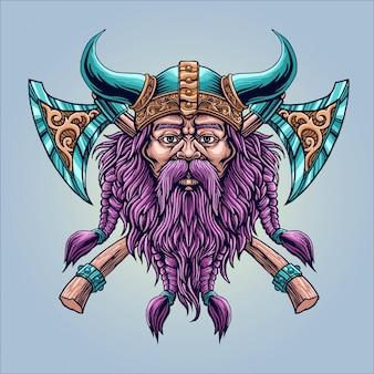 Chłodna broda wiking z ilustracją topora