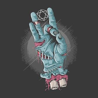Chłodna ręka zombie z kości i grafiki krwi