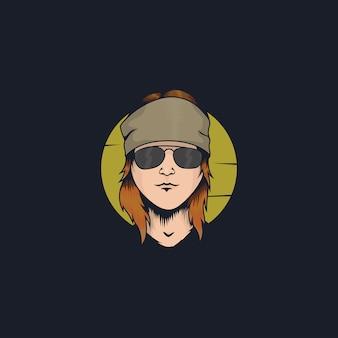 Chłodna rockstar twarzy ilustraci kreskówka