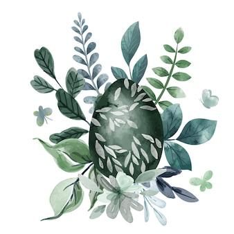 Chłodna zielona kompozycja kwiatowa wielkanocna z jajkami