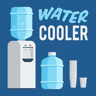Chłodnica wody, butelka i kubek