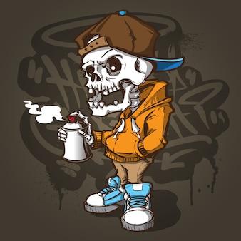 Chłodny szkielet graffiti charracter
