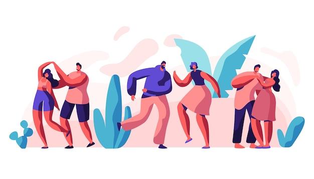 Chłopak dziewczyna para taniec razem zestaw. partner i partner bawią się tańcem. szablon aktywnego wypoczynku. kolekcja mężczyzna kobieta stanąć w pozie zabawy. ilustracja wektorowa płaski kreskówka