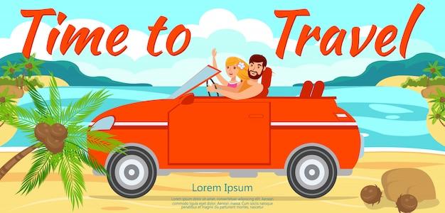 Chłopak i dziewczyna podróż samochodem do morza