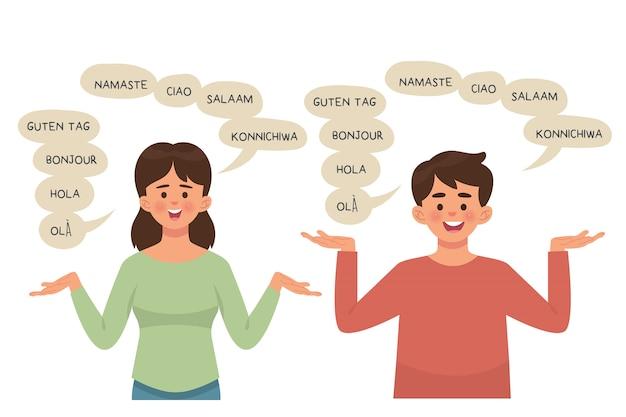 Chłopak i dziewczyna rozmawia z poliglotą, wyrażenia z bąbelkowymi słowami