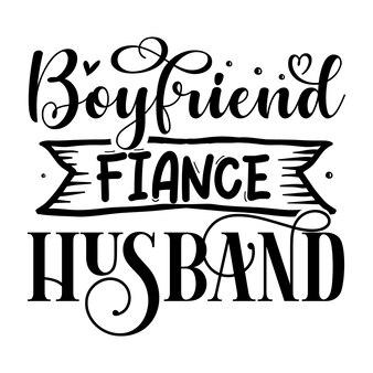 Chłopak narzeczony mąż typografia szablon cytatu premium vector design