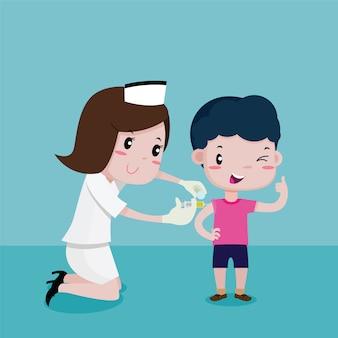 Chłopak szczęśliwy, gdy pielęgniarki wstrzykiwały, kreskówka wektor