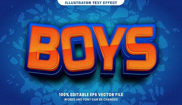 Chłopcy 3d efekt edytowalnego stylu tekstu