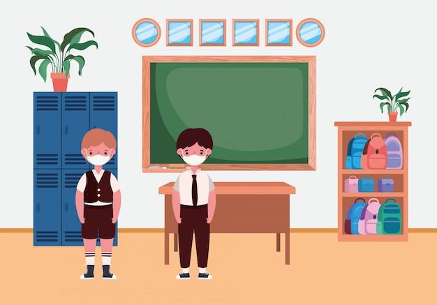 Chłopcy dzieci z maskami w klasie