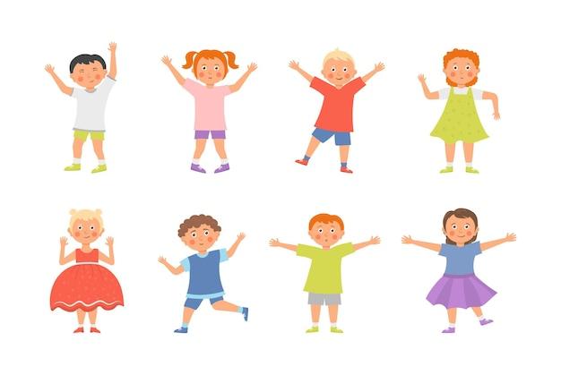 Chłopcy i dziewczęta bawiące się razem szczęśliwie ilustracja