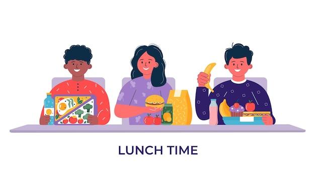 Chłopcy i dziewczęta jedzący śniadanie lub obiad. dzieci, ludzie jedzący, pijący zdrową żywność, napoje. dzieci szkolne pudełka na lunch z posiłkiem, hamburgerem, kanapką, sokiem, przekąskami, owocami, warzywami.wektor.
