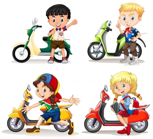 Chłopcy i dziewczęta jeżdżą na skuterach