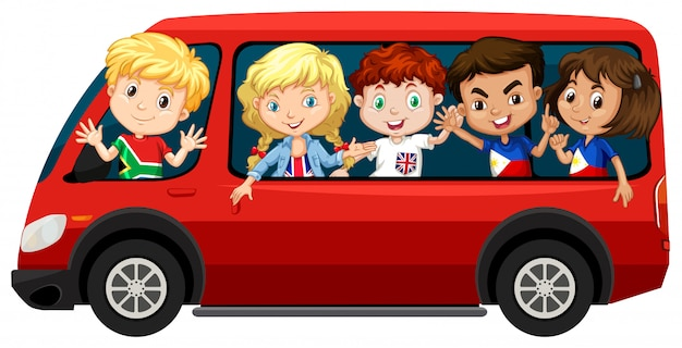 Chłopcy i dziewczęta w czerwonej furgonetce