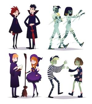 Chłopcy i dziewczęta w stylu różnych postaci na halloween. młode pary w strojach wampirów, mumii, czarodziejów, zombie. ilustracja w stylu kreskówka na białym tle. zestaw. przyjęcie.